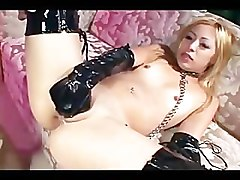 Tiny blonde anal in thigh high boots and gloves