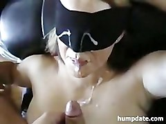 Sexy blindfolded wife gets slammed and defaced