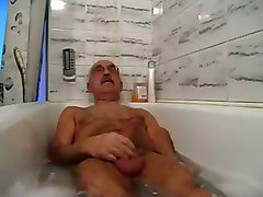 mustache grandpa relaxing and cum in bathtub
