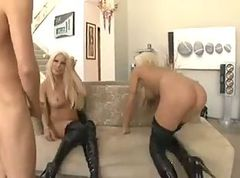 Two sluts in leather boots threesome sex