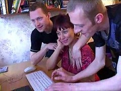 Big Titted Hairy Milf Keeps Her Boys Happy