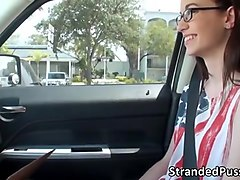damn hot nerd babe tali gets a free ride and enjoys hot sex