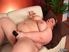 ugly bbw chick truda plays with huge jugs and fucks her fat twat