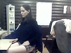 slutty secretary masturbating with big sex toy in the office