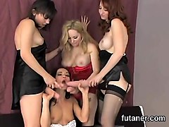Kinky girls drill the biggest strap dildos and spray cum all over the place