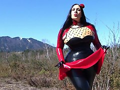 Sweet Red Latex Rose - Dirty Outdoor Blowjob Handjob with Latex Gloves - Cum in my Mouth