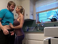 Busty mom in the kitchen hd