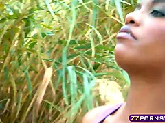 Busty ebony jogging girl huge cock fuck