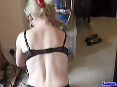 Lingeried euro cougar enjoys young pussy