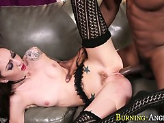 bendy slut licks cum feet