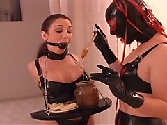 Hot Lesbian Bondage Scene With A Ballgag In Her Mouth