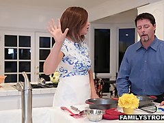 familystrokes - cute teen fucks step-dad whie mom cooks