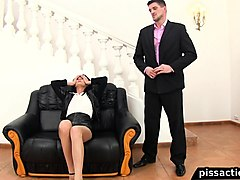 piss freak celine wakes her man up with golden shower