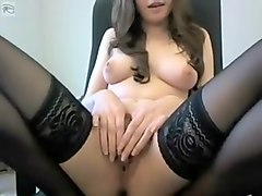 Sexy slut on livecam teasing and seducing with her soft hairy pussy and nice tits