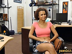 ebony flashes her big tits and slammed by pawn keeper