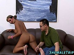 shemale cums guys mouth masturbation