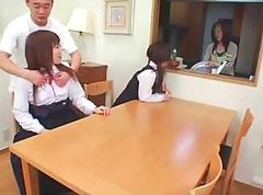 Japanese girls are being schooled by their teacher and fucking