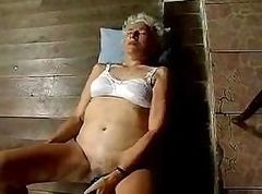 Old granny shows off that flabby body and uses some of her toys
