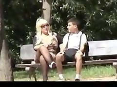 Blonde mature mom and junior boy