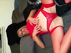 Cougar in red lingerie masturbates and sucks