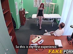 horny redhead babe takes a cock ride in doctors office