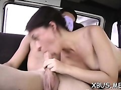 babe goes ribald with a dude in a bang bus