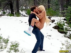 Sex in the snow with a blonde bimbo slut