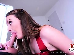 brunette amateur pov blowjob and cum in mouth