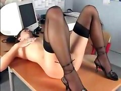 Skinny Secretary Masturbating At Her Desk Teen Sexy Young