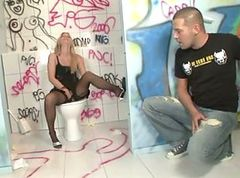 Foot fetish and fuck in toilet