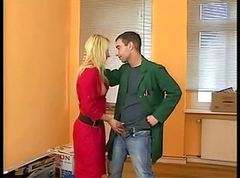 Shaved blonde in leather boots loves sex