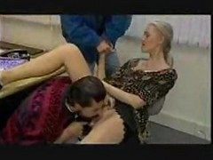 German Blonde Likesthreesome In Office With2 Men